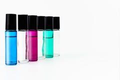 Szklane Rolkowe butelki Rozjaśniają i kolor Wędkowałem blaknie zdjęcie stock
