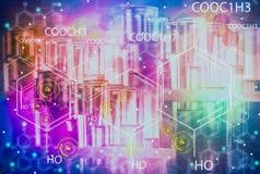 Szklane tubki dla laboranckich eksperymentów i badania, zawierający kolorowych ciecze i ikonę, cząsteczkowi separacyjni pojęcia d ilustracja wektor