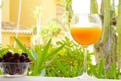 szklanego soku naturalna pomarańcze Obrazy Stock