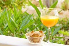 szklanego soku naturalna pomarańcze Obrazy Royalty Free