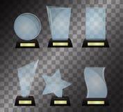 Szklanej trofeum nagrody wektorowa ilustracja odizolowywająca na przejrzystym tle Obraz Royalty Free