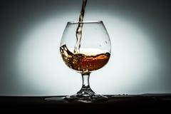 Szklani biali tło winiety naczynia z koniaka alkoholu herbatą Fotografia Royalty Free