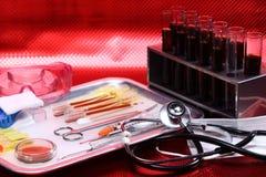 Szklani Lab Próbni narzędzia wyposażenia, setu egzamin próbny up dla mknącego backgro Obraz Royalty Free
