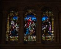 szklani religijni pobrudzeni okno Obrazy Stock