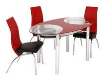 Szklany łomota stół i krzesła Obrazy Royalty Free