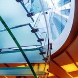 Szklany ślimakowaty schody Zdjęcia Royalty Free