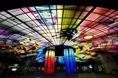 Szklany arcydzieło na dachu Meilidao stacja w Kaohsiung, Tajwan Zdjęcie Stock