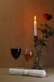 szklany czerwony biały wino Obrazy Royalty Free