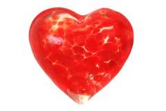 Szklany czerwony serce odizolowywający Zdjęcie Royalty Free