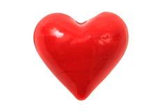 Szklany czerwony serce odizolowywający Zdjęcia Royalty Free