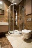 Szklany douche i ceramiczna toaleta zdjęcie royalty free