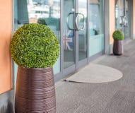 Szklany drzwi agencja podróży Walizka z Brytyjski f zdjęcie royalty free