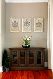 Szklany drzwiowy gabinet dekorujący z kwiatami Zdjęcia Stock