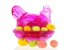 Szklany Easter kurczak z jajkami zdjęcia royalty free
