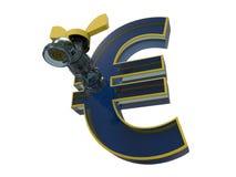 Szklany euro symbol z klepnięciem royalty ilustracja