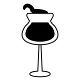 Szklany filiżanki wina napoju projekta kontur royalty ilustracja