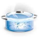 Szklany garnek wrząca woda. Ilustracja. Fotografia Royalty Free