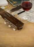szklany gitary notatki wino Zdjęcie Stock