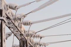 Szklany izolator na linii energetycznej Izolator elektryczne wysokonapięciowe linie fotografia stock