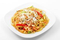 Szklany kluski Singapur styl, warzywa, garnela, jajko, soja kumberland fotografia stock