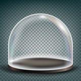 Szklany kopuła wektor Powystawowy projekta element Sfera dekiel Realistyczny 3D Odizolowywający Na Przejrzystej tło ilustraci Zdjęcia Stock