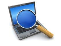 szklany laptop powiększa Fotografia Stock