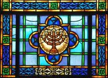 szklany menorah oznaczane Zdjęcia Royalty Free