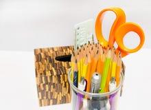 Szklany ołówek dla pracy w biurze Obraz Stock