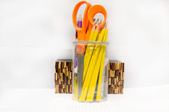 Szklany ołówek dla pracy w biurze Zdjęcia Stock
