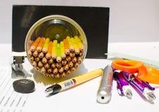 Szklany ołówek dla pracy w biurze Fotografia Stock