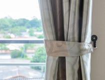 Szklany okno z zasłoną Obrazy Royalty Free