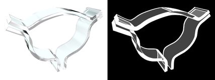 Szklany pęcherzowy symbol z białym tłem fotografia stock