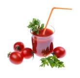 Szklany pełny świeżo przygotowany pomidor obrazy royalty free