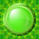 Szklany porthole na zielonym tle Obrazy Royalty Free