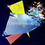 Szklany prostokąt Abstrakcjonistyczna postać która łama w małych kawałki, Nowożytny geometrical projekt również zwrócić corel ilu Obrazy Stock