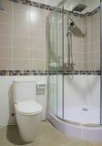 Szklany prysznic pokój, toaleta i zdjęcia royalty free