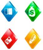 Szklany przejrzysty kolor ikony set Fotografia Royalty Free