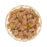 Szklany puchar jagnięcy psi jedzenie na białym tle Obraz Stock
