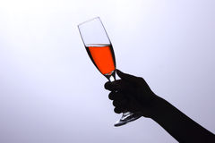 szklany ręki mienia wino Zdjęcie Royalty Free