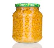 Szklany słój z konserwować kukurudzą Fotografia Royalty Free