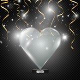Szklany serce na przejrzystym tle, ilustracja ?wiat?o reflektor?w iluminuje serce ilustracja wektor