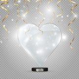 Szklany serce na przejrzystym tle, ilustracja ?wiat?o reflektor?w iluminuje serce royalty ilustracja