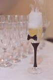 szklany szampania white izolacji Zdjęcia Stock