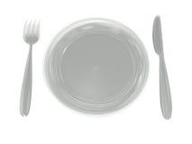 Szklany talerz, rozwidlenie, nóż zdjęcie royalty free