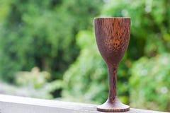 Szklany wina drewno Zdjęcie Stock
