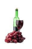 Szklany wino i winogrona Obrazy Royalty Free