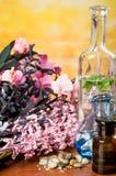 Szklanych butelek olejów kamieni zdroju pojęcie Zdjęcie Stock