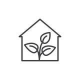 Szklarni kreskowa ikona, konturu wektoru znak, liniowy stylowy piktogram odizolowywający na bielu Symbol, logo ilustracja Editabl ilustracji
