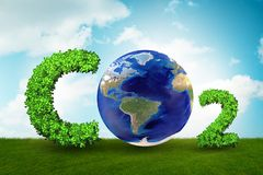 Szklarniany pojęcie z dwutlenek węgla gazem - 3d rendering fotografia stock