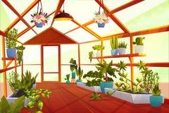 Szklarniany wnętrze z ogródem wśrodku, oranżeria ilustracji